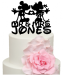 Mouse kissing with Surname Cake Acrylic Topper